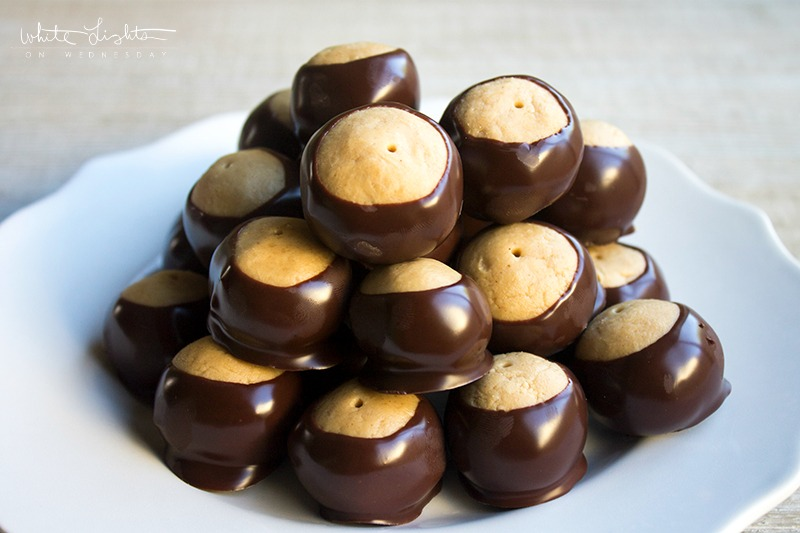 Buckeyes are a tradition in our house in the fall. These peanut butter & chocolate candies are dipped to look like the Ohio nut and they're OH so good!