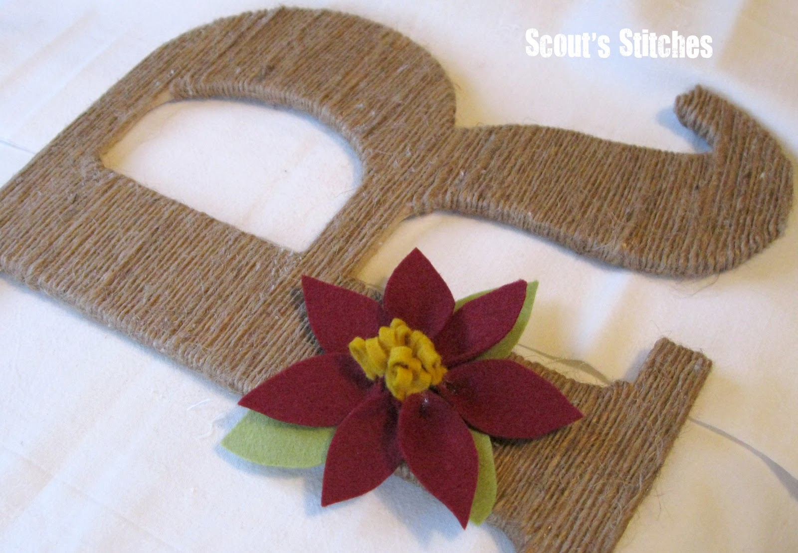 Scout S Stitches Diy Jute Wrapped Letter With Flower Accent White