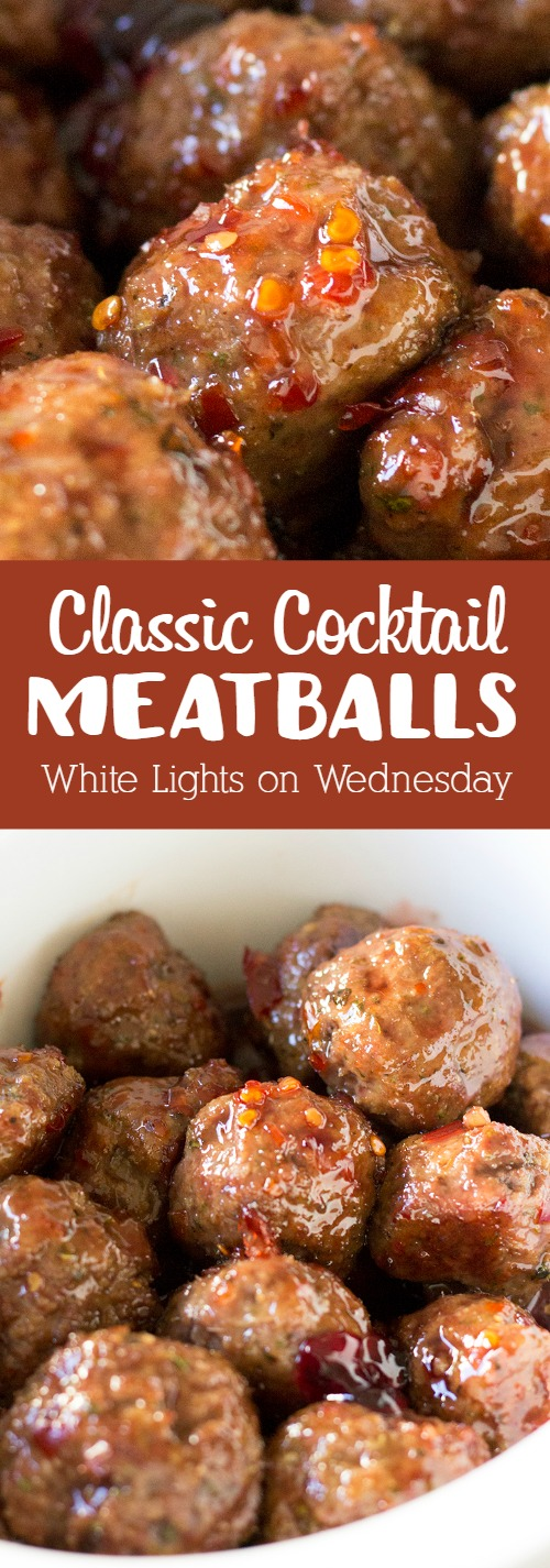 These Classic Cocktail Meatballs are a staple for parties and get togethers! I love that they can be prepped ahead of time and warmed up when ready to serve!