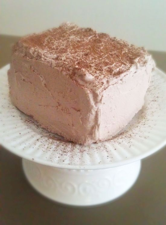 Spiked Chiffon Cake with Chocolate Whipped Cream - White Lights on ...