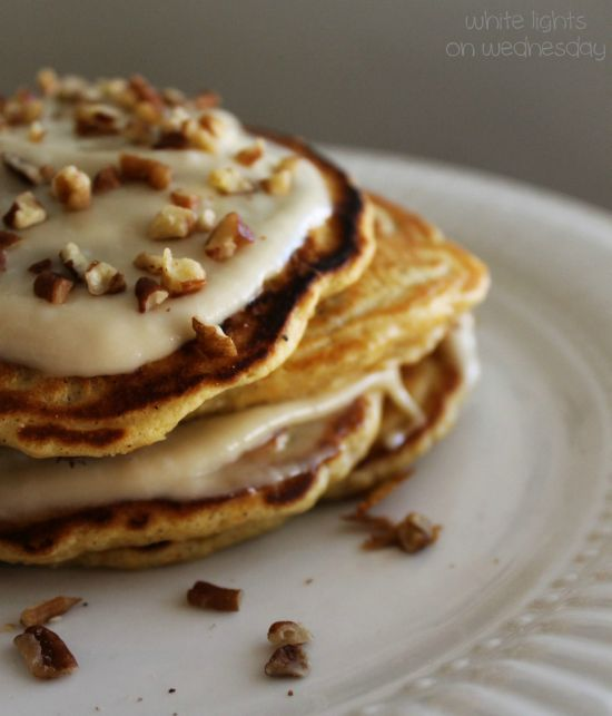 Carrot Cake Pancakes with Maple Cream Drizzle 2