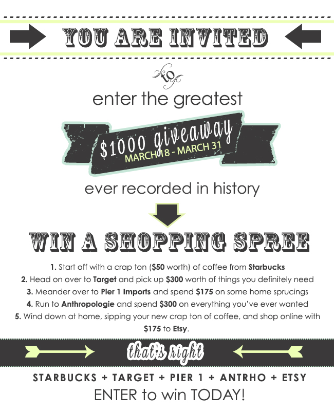 $1,000 Shopping Spree Giveaway! {Closed}