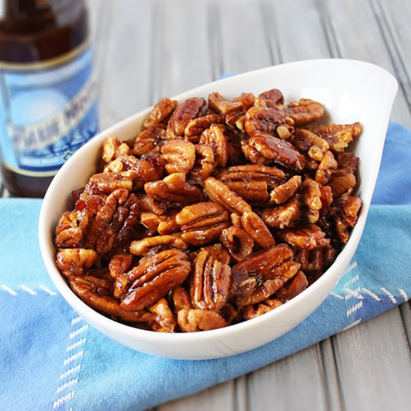 bacon and beer glazed pecans