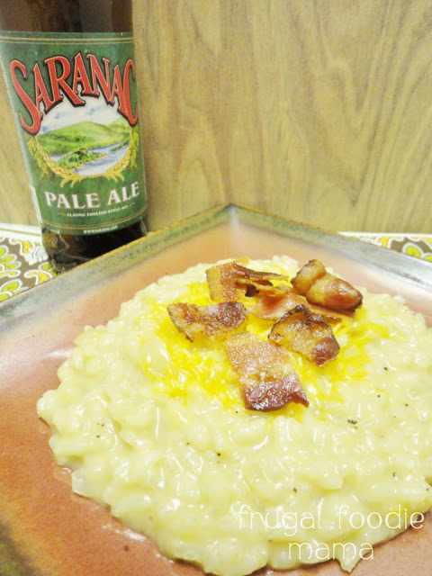 beer cheese risotto with bacon
