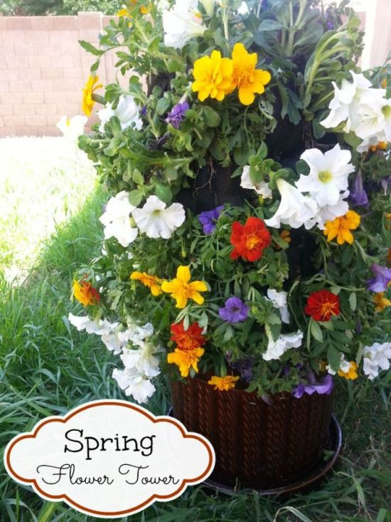 DIY Spring Flower Tower