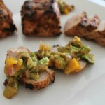 Grilled Pork Tenderloin with Avocado-Peach Salsa & Grilled Tomatillo Guacamole