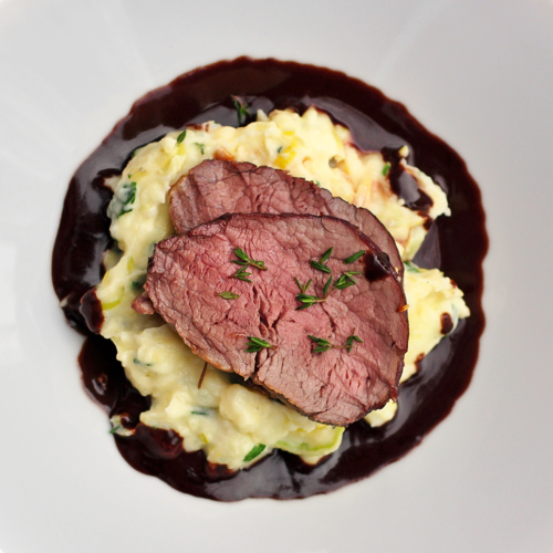 Maple Juniper Beef tenderloin  with Chocolate Infused Red Wine Jus, Leek and Potato Mash Cole Nicholson