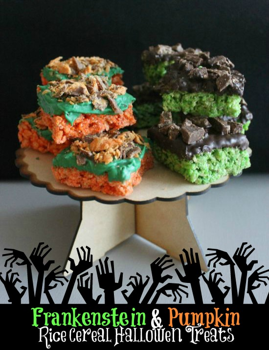 Frankenstein & Pumpkin Rice Cereal Halloween Treats
