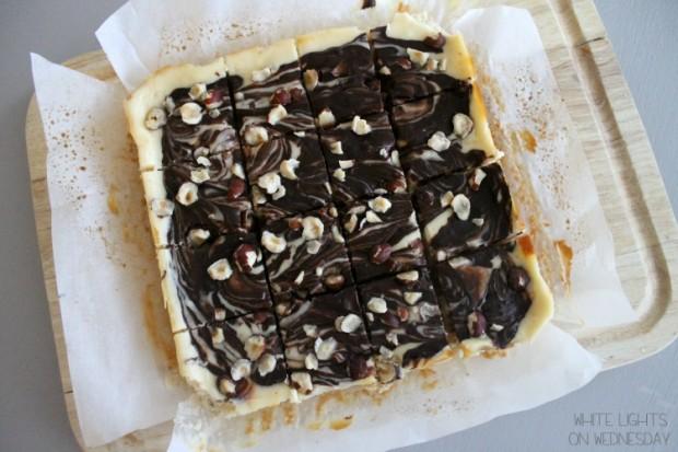 Dark Chocolate & Hazelnut Cheesecake Bars   White Lights on Wednesday