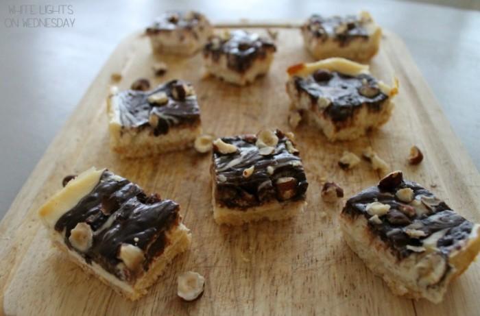 Dark Chocolate & Hazelnut Cheesecake Bars | White Lights on Wednesday