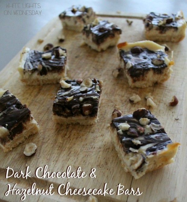 Dark Chocolate & Hazelnut Cheesecake Bars | White Lights on Wednesday