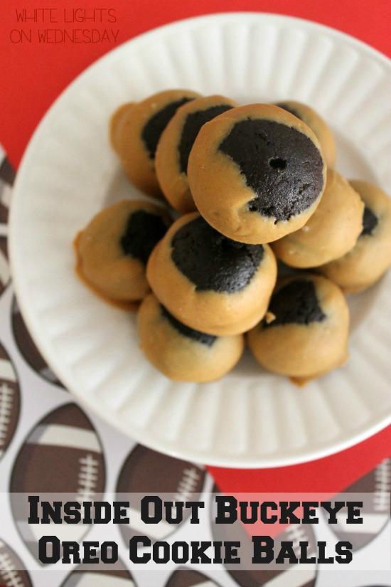 Inside Out Buckeye Oreo Cookie Balls  #oreocookieballs