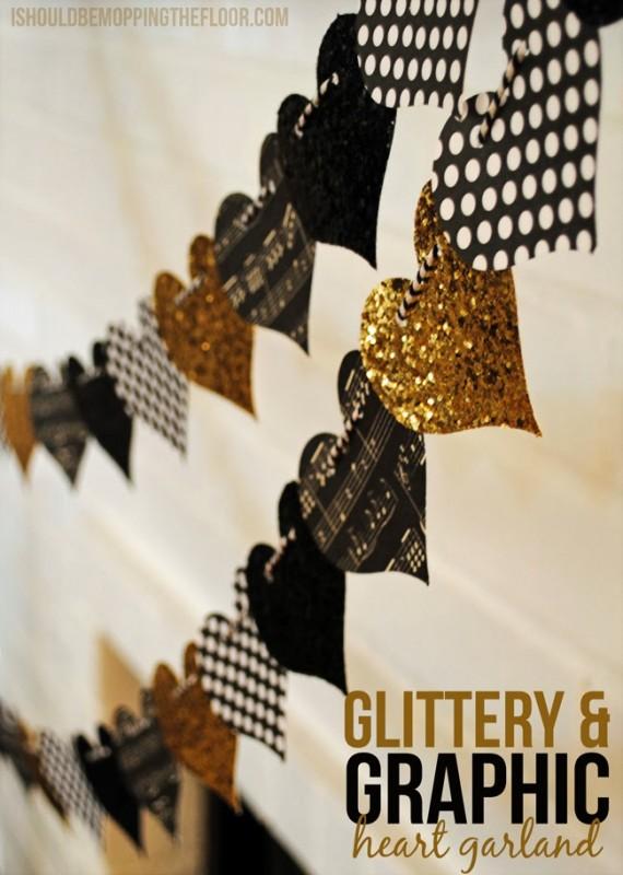 Glittery & Graphic Heart Garland