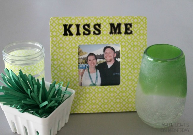 Washi Tape Kiss Me Picture Frame 11 650x457 Kiss Me   St. Pattys Day DIY Craft   By Julie of White Lights On Wednesday