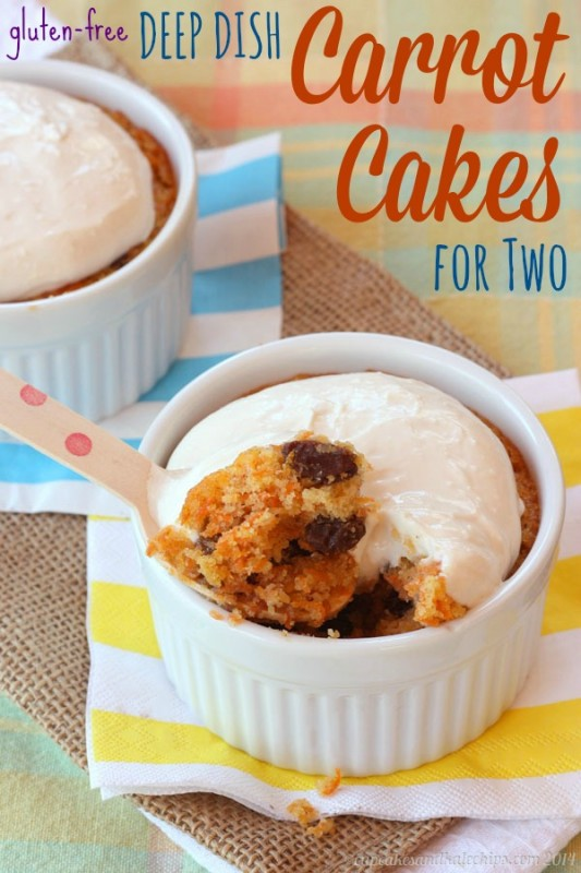 Gluten-Free Deep Dish Carrot Cakes for Two