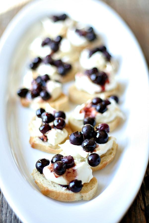 Balsamic Roasted Blueberry & Homemade Ricotta Crostini