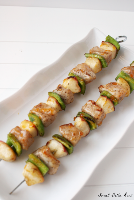 Grilled Peaches & Peppers Pork Kebabs