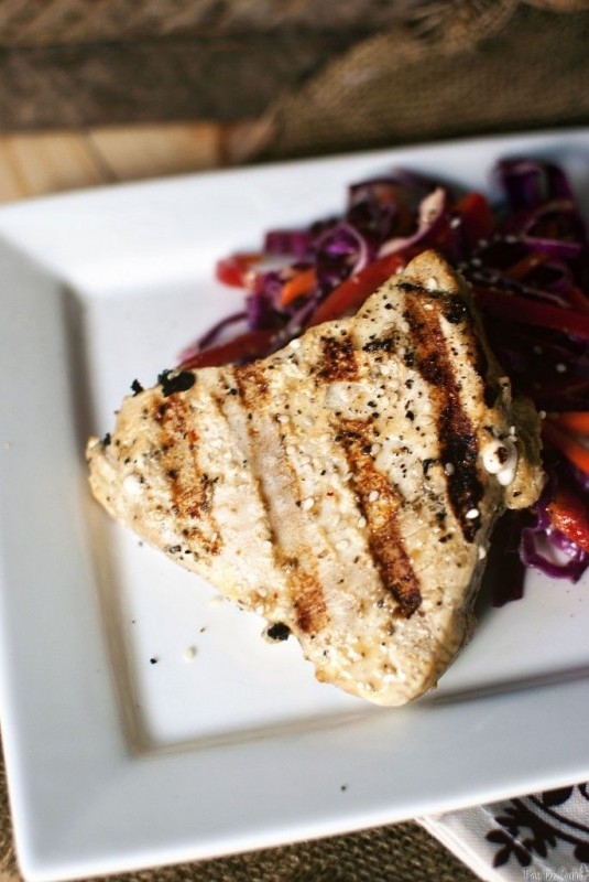 Grilled Tuna Steaks with Asian Slaw