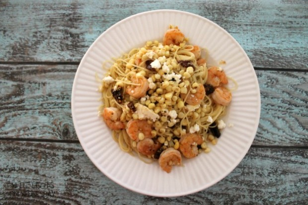 Shrimp & Angel Hair with Corn, Feta, and Sun Dried Tomatoes