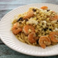 Shrimp & Angel Hair with Corn, Feta and Tomatoes