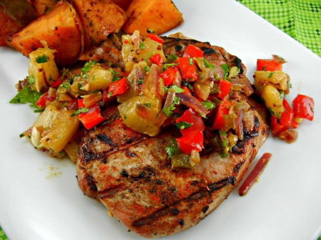Spicy & Smokey Grilled Pork Chops with Pineapple Relish