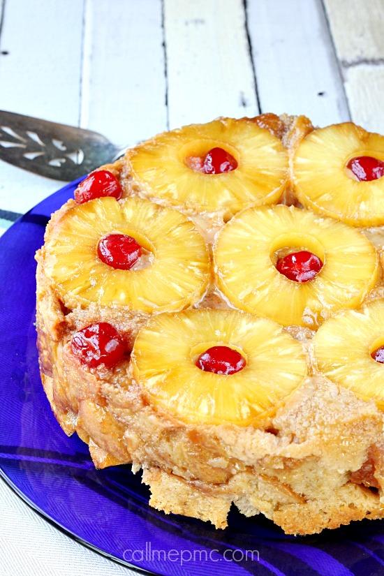 Pineapple Upside Down Bread Poudding