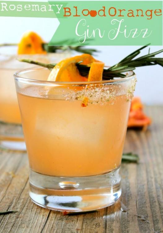 Blood Orange Rosemary Gin Fizz