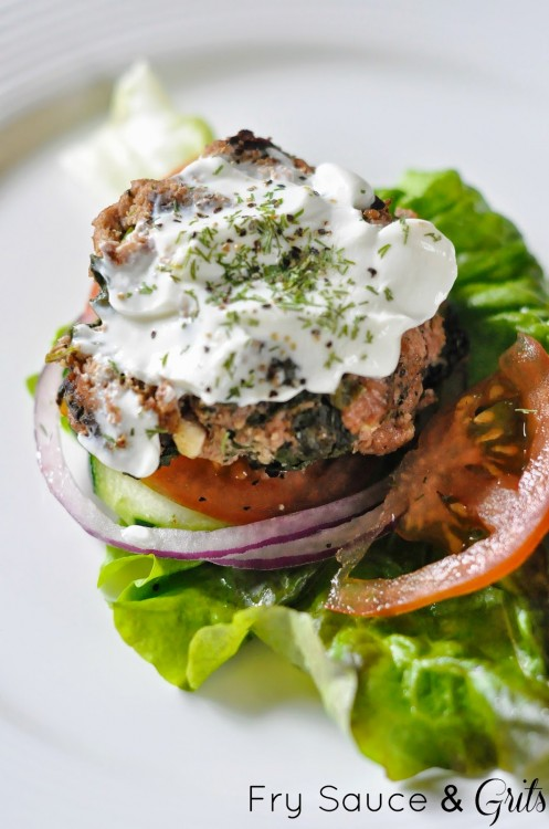 Healthy Spinach Feta Turkey Burger Recipe from Fry Sauce and Grits