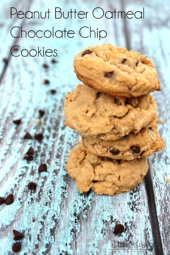 Peanut Butter Oatmeal Chocolate Chip Cookies   White Lights on Wednesday