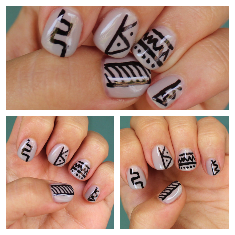 Tribal Nail Art: White Lights On Wednesday