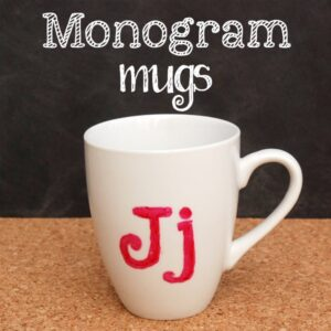 Make these DIY monogram mugs for just pennies! These would be great for Christmas, birthday, or end-of-year teacher gifts.