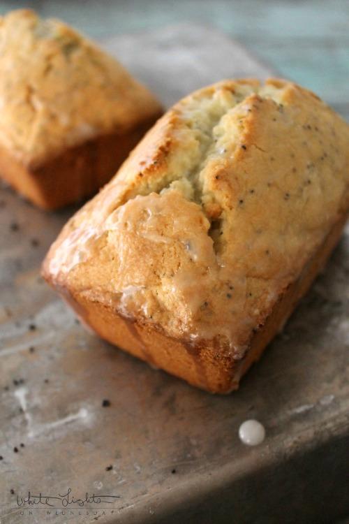 Almond Poppy Seed Pound Cake with Lemon Cream Cheese | White Lights on Wednesday  #passthecookbook