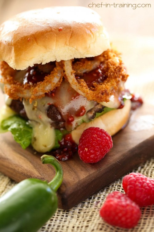 Creamy Jalapeño Stuffed Burgers with Raspberry Chipotle Sauce