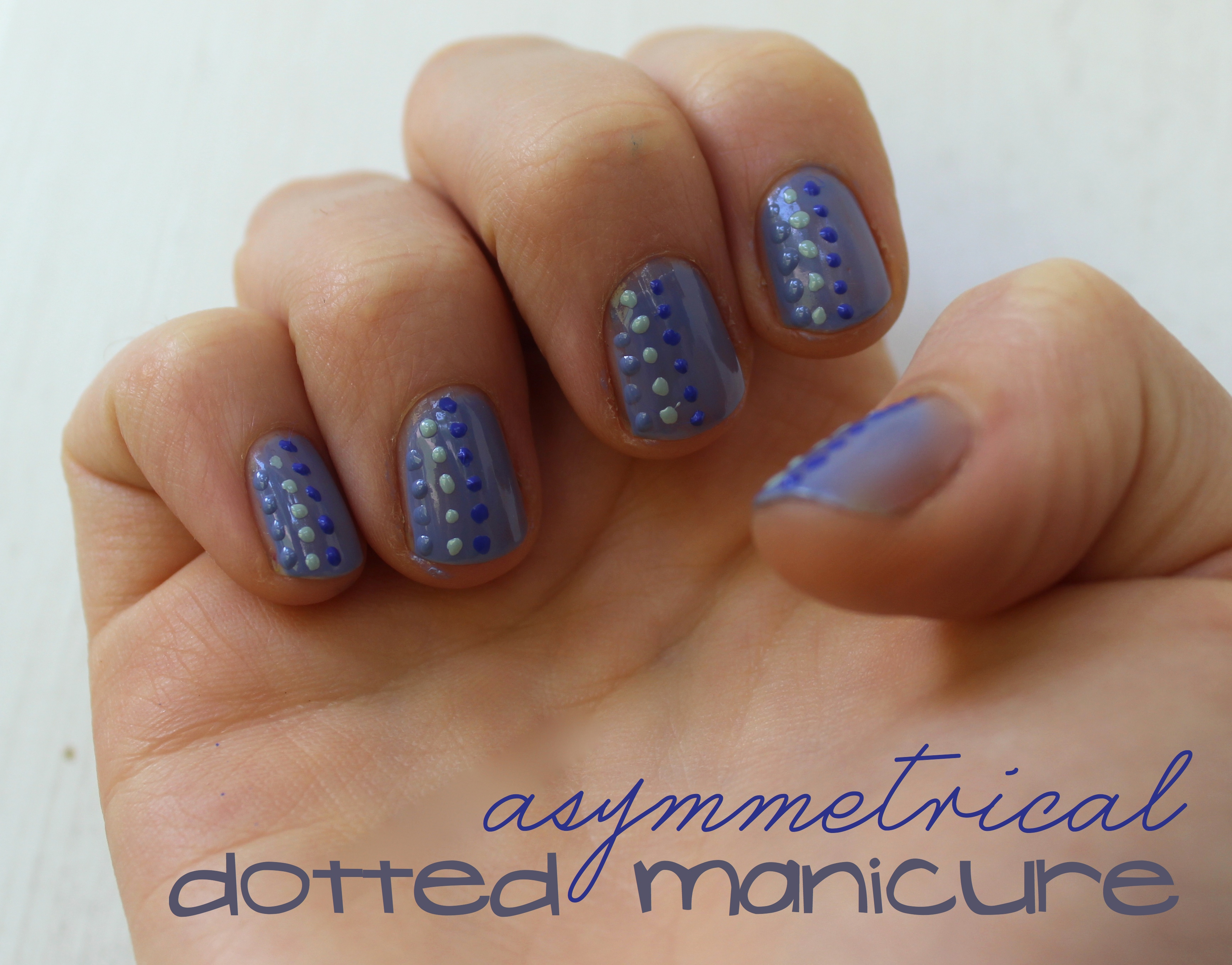 Asymmetrical Dotted Manicure