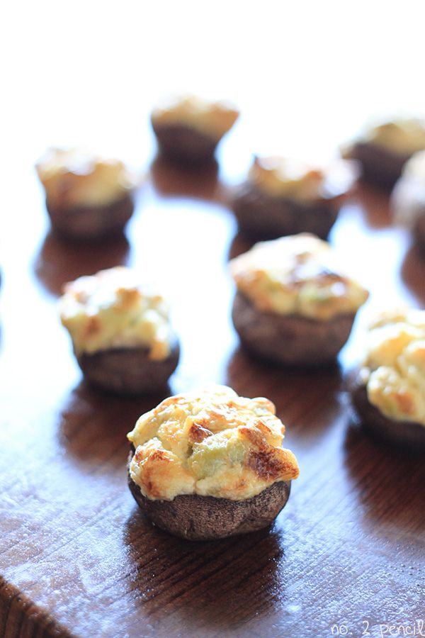 Jalapeño and Artichoke Stuffed Mushrooms