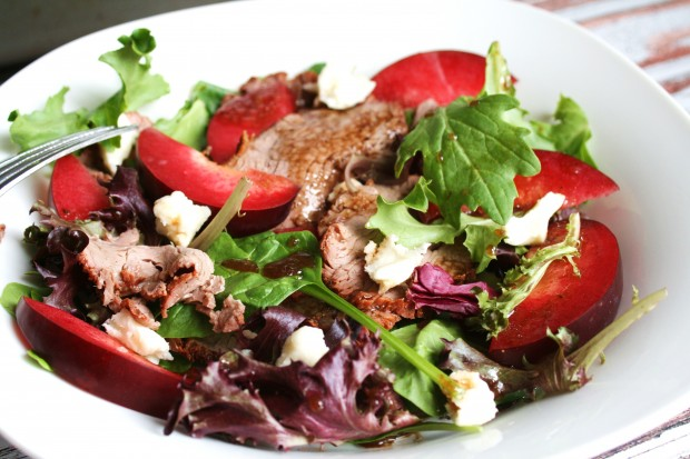 Steak and Raspberry Jewel Plout Salad | White Lights on Wednesday