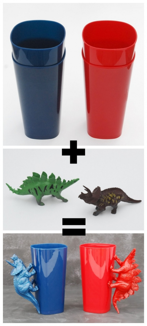Hi, everyone! Jenn from Endlessly Inspired here. Inexpensive, easy projects are my very favorite. Which is why I cannot tell you how much I love these DIY dinosaur handle cups.
