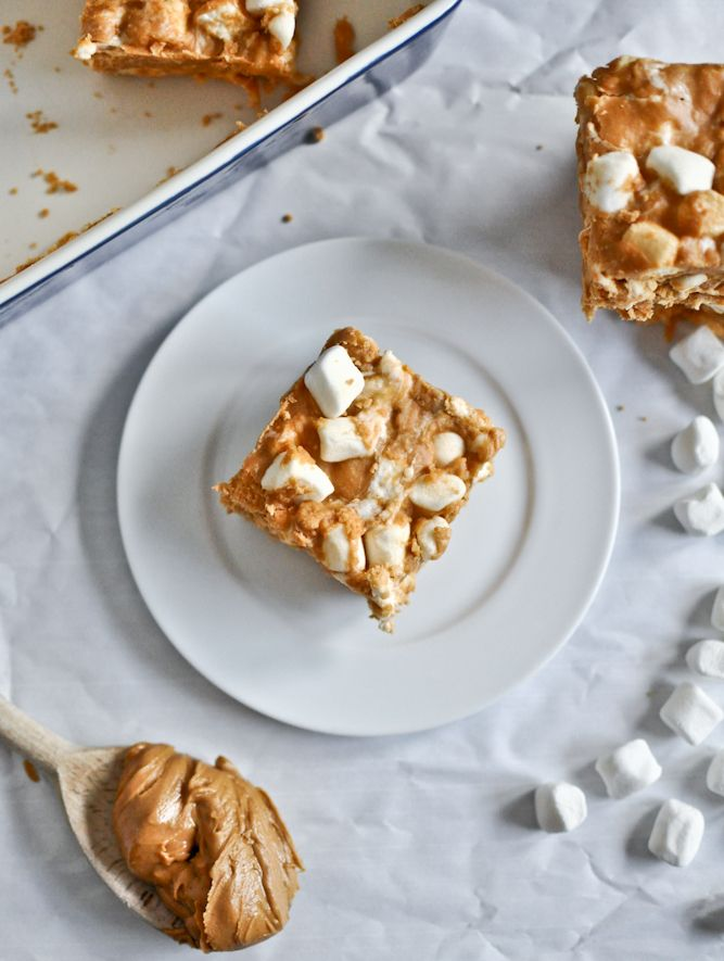 No Bake Peanut Butter Marshmallow Squares