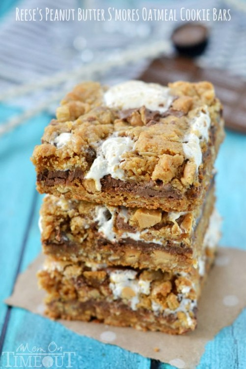 Peanut Butter Smores Oatmeal Cookie Bars