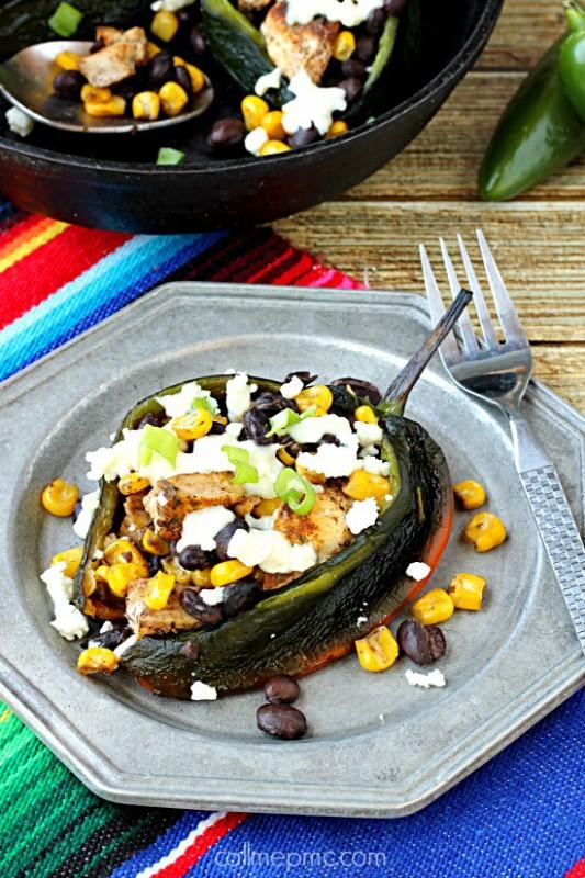 Fajita-Seasoned-Chicken-Black-Beans-and-Corn-Stuffed-Poblano-Peppers