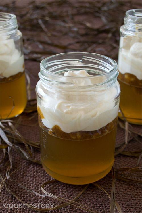 Homemade Apple Jello with Caramel Crème Fraîche in Jars