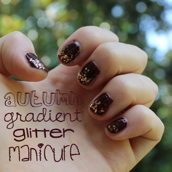 Autumn Gradient Glitter Manicure | White Lights on Wednesday