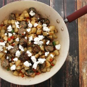 Steakhouse Potato, Sausage & Goat Cheese Skillet 3