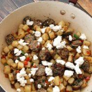 Steakhouse Potato, Sausage & Goat Cheese Skillet