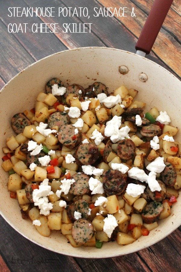 Steakhouse Potato, Sausage & Goat Cheese Skillet | White Lights on Wednesday #SimplyPotatoes #ad