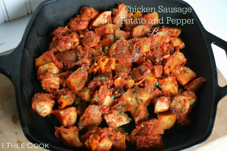 Chicken Sausage, Potato and Pepper Bake | White Lights on Wednesday