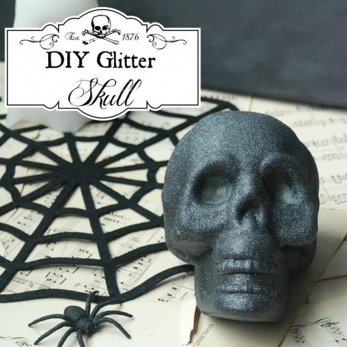DIY Black Glitter Skull
