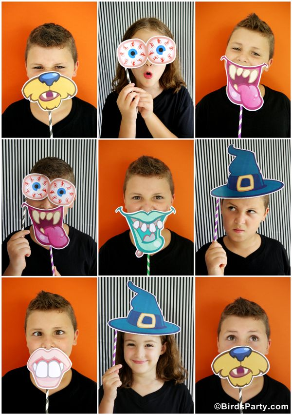 Halloween DIY Party Photo Booth with FREE Printables Props