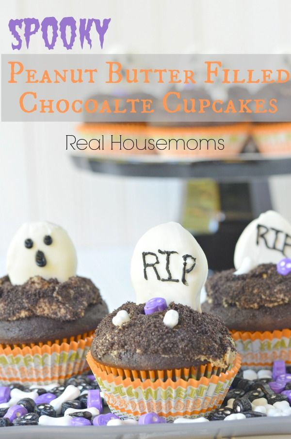Spooky Peanut Butter Filled Chocolate Cupcakes
