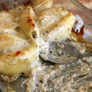 Cheesy Chicken Stuffed Shells with Pesto Sauce 2